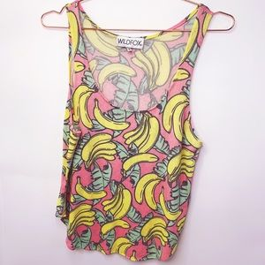 WILDFOX Tropical Banana Knit Tank Top XL pink